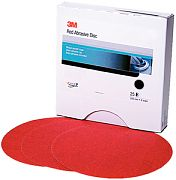 "3M 01185 6"" P1200A Grit Red Abrasive Hookit Film Discs 25/Box"