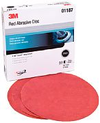 "3M 01189 6"" P600A Grit Red Abrasive Hookit Discs 50/Box"