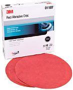 "3M 01221 6"" P220A Grit Red Abrasive Hookit Discs 50/Box"