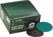 "3M 01406 3"" Green Corp Roloc Discs 50 Grit 25/Box"