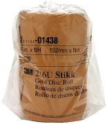 "3M 01438 6"" P220A Grit Gold Stikit ""A"" Weight Disc Roll 216U 175/Roll"