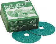 """3M 01915 Green Corps Fibre Discs 24 Grit 5"""" x 7/8"""" 20/Box"""