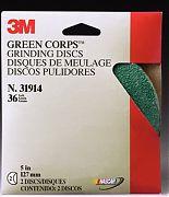 """3M 31915 Green Corps Fibre Discs 24 Grit 5"""" x 7/8"""" 2/PK"""