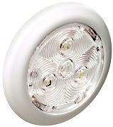 "Attwood 6322W7 2.75"" White Plastic LED Round Interior/Exterior Light - Red"