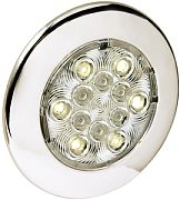 "Attwood 6340SS7 4"" Stainless Steel LED Round Interior/Exterior Light - White"