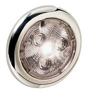 "Attwood 6341SS7 2.75"" Stainless Steel LED Round Interior/Exterior Light - White"
