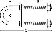 "Attwood 66261L3 Bow Eye U-Bolt - 2-3/4"" x 3/4"" SS"