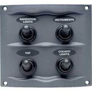 BEP Marine 9004WP Gray 4 Switch Spray Proof Switch Panel