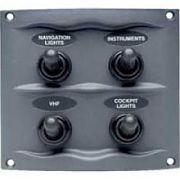 BEP Marine 9004WP Gray 4 Switch Spray Proof Switch Panel