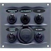 BEP Marine 9005WPS Gray 5 Switch Spray Proof Switch Panel