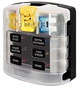 Blue Sea 5028 ST Blade Fuse Block With Cover - 6 Circuit without Negative Bus