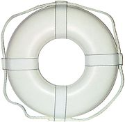 "Cal June GW24 24"" White Ring Buoy W/Straps"