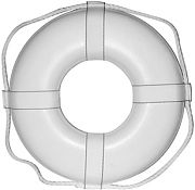 "Cal June GW30 30"" White Ring Buoy W/Straps"