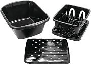 Camco 43518 Sink Kit with Dish Drainer Blk