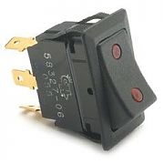 Cole Hersee 5832706 SPDT On-Off-On Rocker Switch, two red pilots, dependent and independent illumination