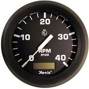 Euro Black Tachometer with Hourmeter 4000 Rpm diesel mag Pick-up