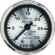 Faria 16003 Spun Silver Water Pressure Gauge Kit 30 Psi