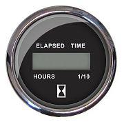 Faria Chesapeake Black SS Digital Hourmeter 12-32 Volts