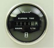 Faria Chesapeake Black SS Hourmeter, 10,000 hrs 12-32 vDC