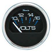 Faria Chesapeake Black SS Voltmeter, 10-16 vDC