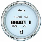 Faria Chesapeake White SS Hourmeter, 10,000 hrs 12-32 vDC