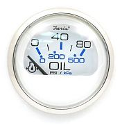 Faria Chesapeake White SS Oil Press Gauge, 80 PSI