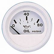Faria Dress White Oil Press Gauge, 80 PSI