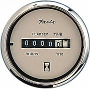 Faria Euro Beige SS Hourmeter, 10,000 Hrs 12-32 Vdc