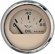 Faria Euro Beige SS Oil Press Gauge, 80 PSI