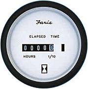 Faria Euro White Hourmeter, 10,000 hrs 12-32 vDC