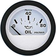 Faria Euro White Oil Press Gauge, 80 PSI