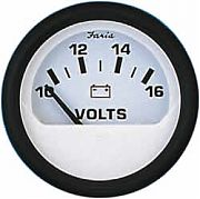 Faria Euro White Voltmeter, 10-16 vDC