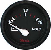 Faria Professional Red Voltmeter, 10-16 vDC