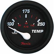 Faria Professional Red Water Temp Gauge 100-250F