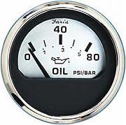 Faria Spun Silver Oil Press Gauge, 80 Psi