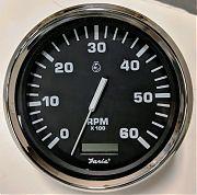 """Faria TCH223 Tachometer/Hourmeter 5"""" 6000 RPM Euro Black SS"""