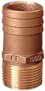 "Groco FF500 1/2"" x 3/4"" Full Flow Pipe to Hose Adapter"