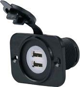 Marinco 12VDUSB 12 24 Volt Dual USB Rec with Plate