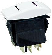 Seachoice 12991 Illuminated White Contura Rocker Switch - DPDT - On/Off/On