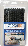 """Seadog 301112025BK-1 Twisted Nylon Dl 1/2""""X25´ Blk"""