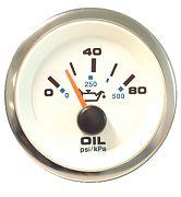 """Sierra 62542P Premier Pro Series White 2"""" Oil Pressure Gauge 80 Psi"""