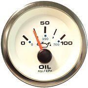 """Sierra 62543P Premier Pro Series White 2"""" Oil Pressure Gauge 100 Psi"""