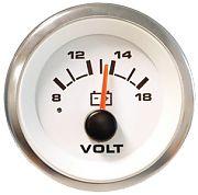 "Sierra 62555P Premier Pro Series White 2"" Voltmeter - 12V Systems"