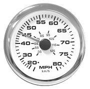 Sierra 65626SSFP Premier Pro Series White Speedometer Kit 80 Mph