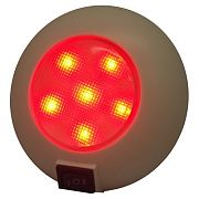 """T&H Marine LED51830DP Surface Mount Dome Light w/Switch - 4"""" Dia - 6 Red / 9 White LED Combination"""