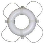 "Taylor Made 567 24"" White with White Rope Polyethylene Ring Buoy"