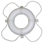 "Taylor Made 568 30"" White with White Rope Polyethylene Ring Buoy"