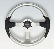 Uflex Spargi Steering Wheel - Purple Inserts With Black Grip - Silver Spokes