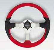 Uflex Spargi Steering Wheel - Red Inserts With Black Grip - Silver Spokes