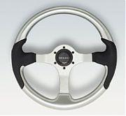 Uflex Spargi Steering Wheel - Silver With Yellow Grip and Die Cast Aluminum Hub